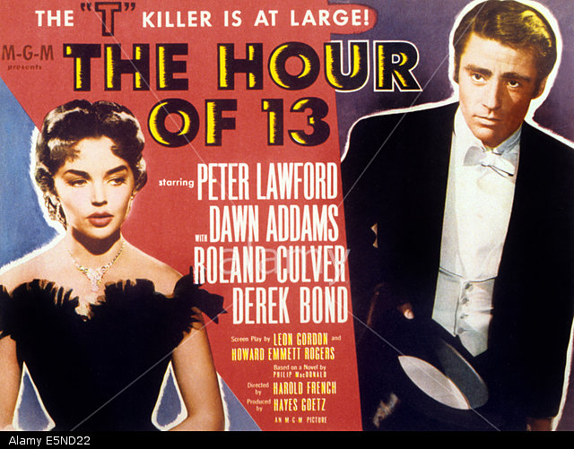 E5ND22 THE HOUR OF 13, l-r: Dawn Addams, Peter Lawford on title lobbycard, 1952.